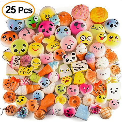 Kuuqa 25 Pcs Random Slow Rising Squishies Jumbo Medium Mini Kawaii Squishy Cake/Panda/Donuts Toys Phone Straps Key Chains Stress Relief Toy Christmas/Birthday Party Present Favors Bags