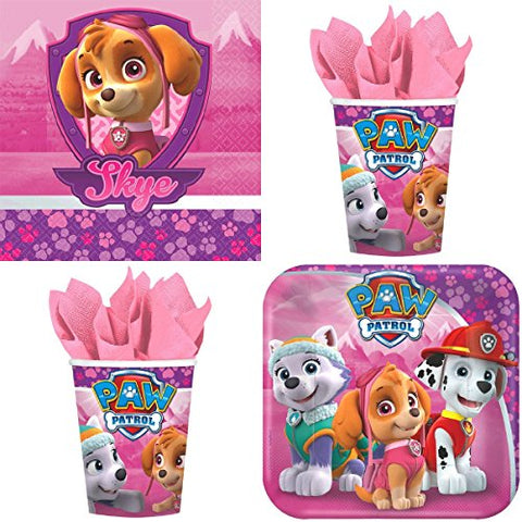 Paw Patrol Girls Birthday Party Supplies Bundle Pack for 16 Guests