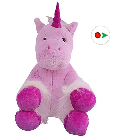"Recordable Stuffed Unicorn With 10 Second Digital Recorder (16"", Violet)"