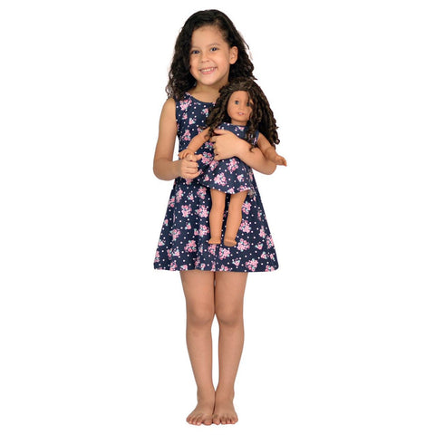 Girl And Doll Matching Dress Clothes Fits American Girl Dolls & 18 Inches Dolls (12, Blue)