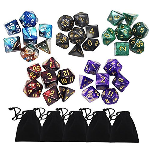 35 Pieces Polyhedral Dice SetYotako Colors Polyheral Game Dice with Velvet Dice Bag D4 D6 D8 D10 D12 D20 for Rpg D&D Dice Games Pathfinder Dice