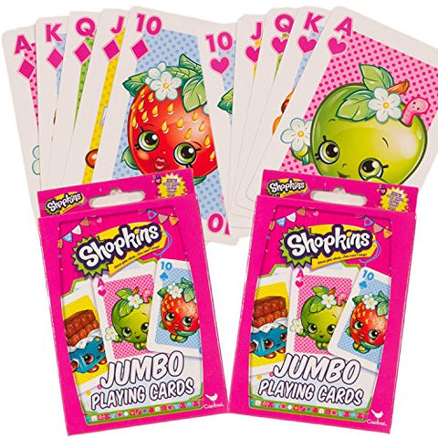 Shopkins Playing Cards -- Set of 2 Decks, Jumbo Shopkins Card Game for Kids