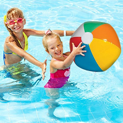Inflatable Beach Balls - Bright Rainbow Colored Pool Toys for Kids and Adults - By Dazzling Toys