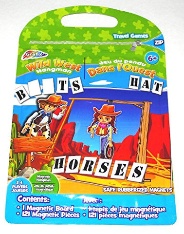 Grafix Wild West Hangman Magnetic Travel Game enclosed in Zip Pouch