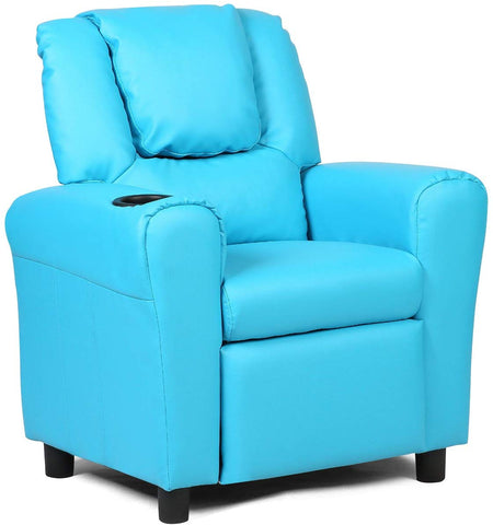 Costzon Contemporary Kids Recliner, Pu Leather Lounge Furniture For Boys & Girls W/Cup Holder, Children Sofa Chair (Blue)
