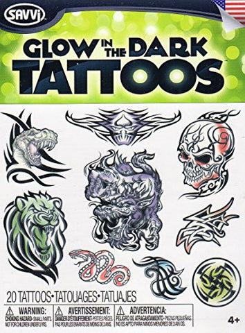Glow in the Dark Temporary Tattoos - 20 Tattoos By Savvi - V3
