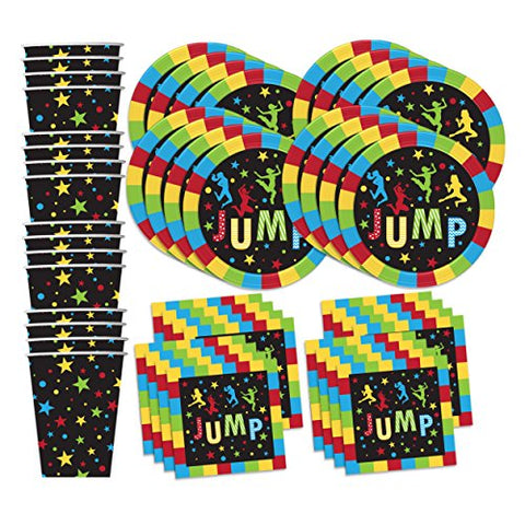 Jump! Bounce Party Supplies Set Plates Napkins Cups Tableware Kit for 16