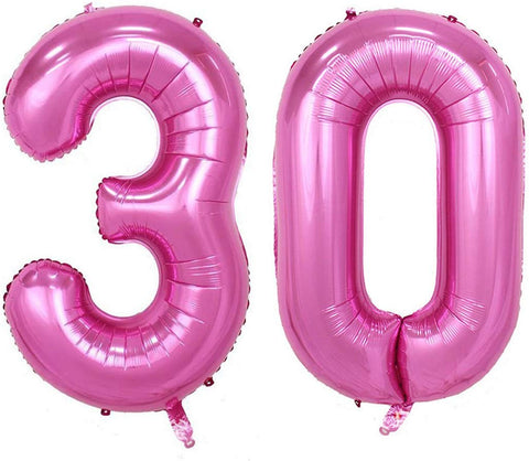 40Inch Jumbo Rose Pink Foil Helium Digital Number Balloons, Women'S 30Th Birthday Balloons Decoration For Lady, 30 Year Old Birthday Party Supplies