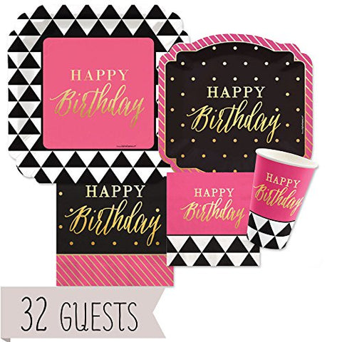 Chic Happy Birthday - Pink, Black with Gold Foil - Party Tableware Plates, Cups, Napkins - Bundle for 32