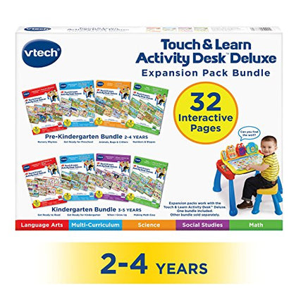 VTech Touch and Learn Activity Desk Deluxe 4-in-1 Preschool Bundle Expansion Pack I for Age 2-4