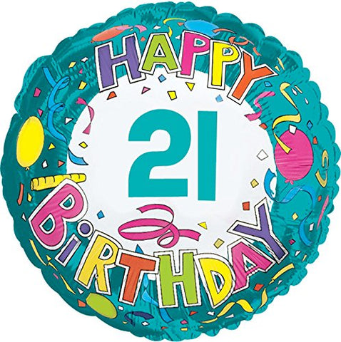 Creative Converting CTI Mylar Balloons, Happy Birthday 21, 17 , Multicolored