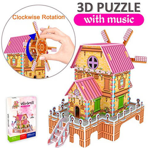 GBD 3D Jigsaw Puzzles for Kids Easter Gifts Magic Windmill Music Box Dollhouse Castle Brain Model DIY Building Sets Educational Toys Creative Learning Games Birthday Gifts for Girls Boys-23 Pieces
