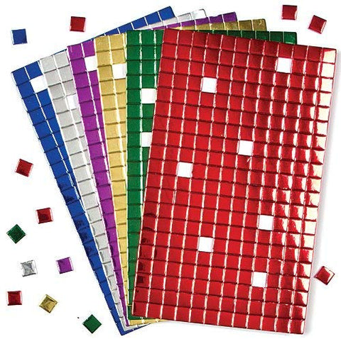 Baker Ross Self-Adhesive Foam Mosaic Square Decoration Stickers | Fun Arts And Crafts Project | No Glue Or Scissors Needed |440 Shiny Tiles