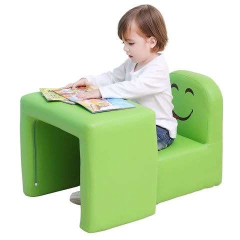 Emall Life Multifunctional 2In1 Children'S Armchair Kids Wooden Frame Chair And Table Set Cpsc Certified Boys And Girls Armrest Chair Easy To Clean (Green)