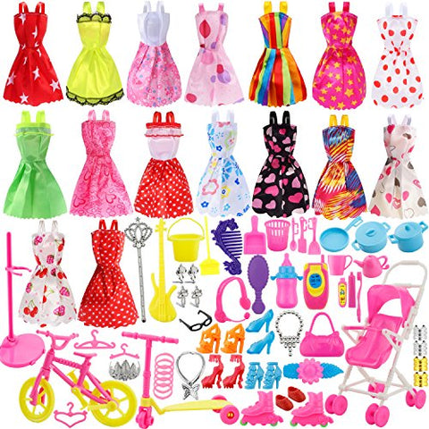 Total 114pcs - Clothes Party Gown Outfits for barbie dolls+ 98pcs Dolls Accessories Shoes Bags Necklace Mirror Hanger Tableware