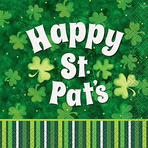 Saint Patrick'S Day Stripes Beverage Napkins, 16Ct