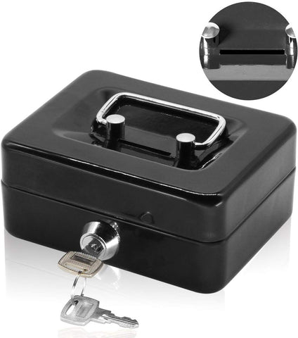 Small Cash Box With Lock And Slot - Jssmst Metal Coin Bank Piggy Bank For Adults And Kids, Black(Smcb0301N)