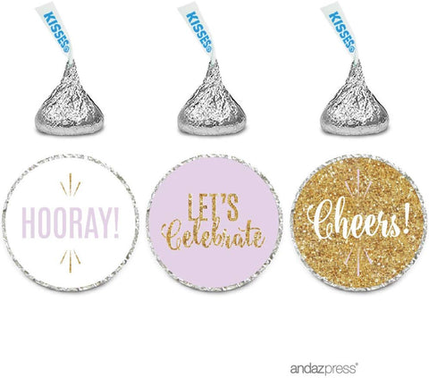 Andaz Press Signature Lavender, White, Gold Glittering Party Collection, Chocolate Drop Labels Stickers, Fits Hershey'S Kisses, Cheers! Hooray! Let'S Celebrate,