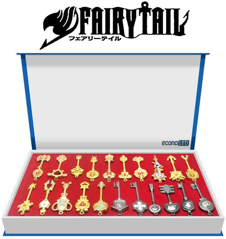 Econoled Fairy Tail, Rulercosplay Fairy Tail Lucy Set Of 21 Golden Zodiac Keys + Chain For Children Kids Gifts