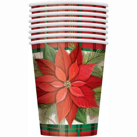 9Oz Poinsettia Plaid Holiday Party Cups, 8Ct