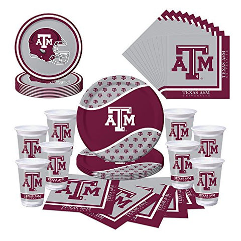 Texas A&Amp;M Aggies Party Bundle - Plates, Cups, Napkins - Serves 8