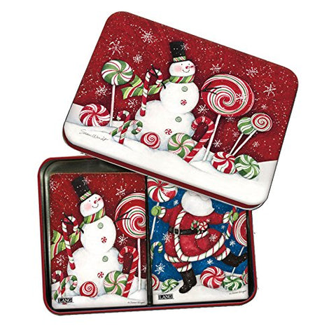 LANG - Playing Cards - 2 Decks in Decorative Tin -  Peppermint Christmas  , Artwork by Susan Winget