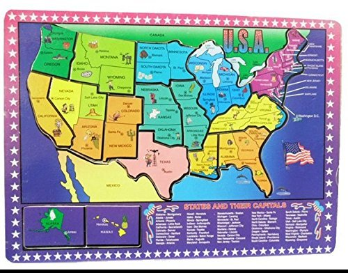 Dazzling Toys Educational Wooden United States Map Puzzle ...