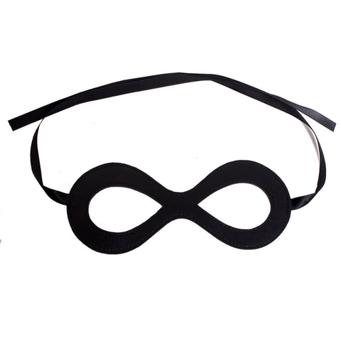 Harlequin Costume Black Leather Eye Mask Black Ribbon - Great Halloween Accessory (One Pack)