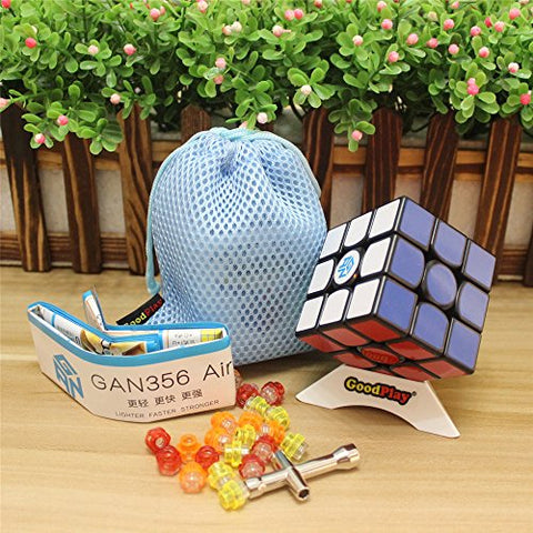 GoodPlay Newest Gans 356 Air Master 3x3 Speed Cube Gan356 Air 3D Magic Cube Puzzles Sticker Intelligence Smooth Brain Teaser Toys, Black + One Customized Tripod and Bag