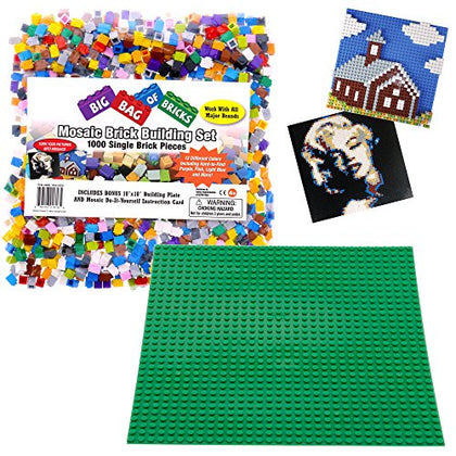 Brick Building Mosaic Set by SCS- 1000 Small Single Pieces with Baseplate and Instructions - Make your Own Pictures that fit with Lego