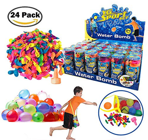 [Value Bundle] Refill Kits of Latex Water Balloons Bomb with Nozzles, Summer Water Fight Sports Fun Party Favors for Kids & Adults (1200 Count)