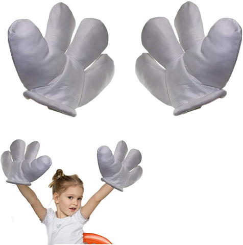 Jumbo Plush Costume Cartoon Hands With Four Fingers - Large Sized White Gloves For Dress Up, Parties, Kids' Events