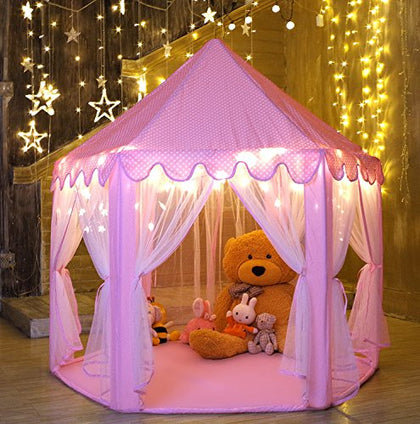 Kids Play House Princess Tent - Indoor and Outdoor Hexagon Pink Castle Play tent for Girls with LED Light by MonoBeach