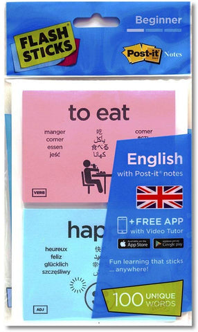 Flashsticks English Beginner Post-It Notes (100 Words) | Fun And Effective Way To Make Language Learning Part Of Your Daily Routine + Free App With Video Tutor To Improve Your Pronunciation.