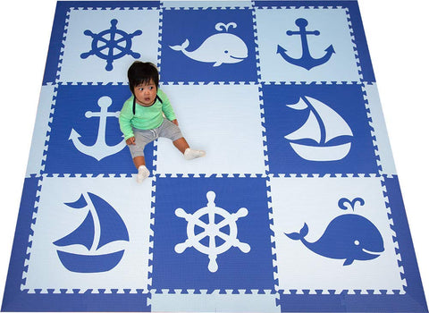 Softtiles Interlocking Foam Playmats- Nautical Ocean Theme For Baby Nursery And Children'S Playroom- Nontoxic Large 2' Foam Floor Tiles- 6.5 X 6.5 Ft.- (Blue, Light Blue) Scnaubs9