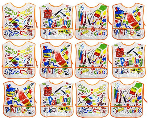 Set of 12 Kiddie Artist Smocks! 4 Assorted Bright and Beautiful Designs - 14 x16  - Soft Vinyl - Pockets - Wipes Clean with Damp Cloth - Perfect for any Little Artist in Your Life!