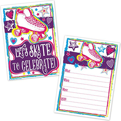 Roller Skating Birthday Party Invitations for Girls - Roller Rink Skate Party Invites (20 Count with Envelopes)
