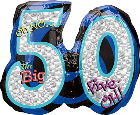 Anagram International Oh No, Birthday 50 Shape Balloon, 26, Multicolor