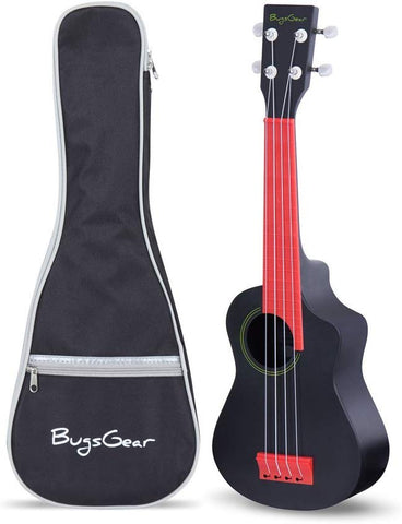 Bugsgear Portable Outdoor Kid Friendly 18 Fret Soprano Aqulele Water Resistant Ukulele With Case, Black/Red