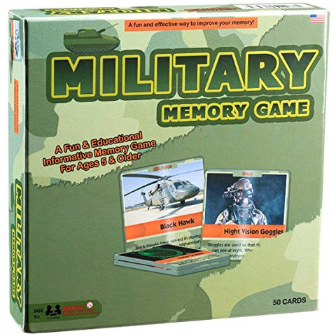 Military Matching Card Game - Fun and Educational Toy for Kids - Authentic Photos and Fascinating Facts About the U.S. Military - 50 Extra Thick Cards - Easy and Fun To Play - Educational Card Game