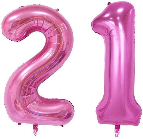 40Inch Jumbo Rose Pink Foil Helium Digital Number Balloons, Girl'S 21St Birthday Balloon Decoration For Lady, 21 Year Old Birthday Party Supplies