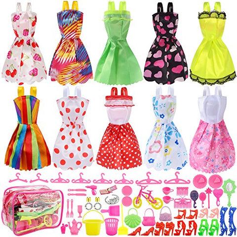 Total 66pcs - Clothes Party Gown Outfits for barbie dolls+ 55pcs Dolls Accessories Shoes Bags Necklace Mirror Hanger Tableware