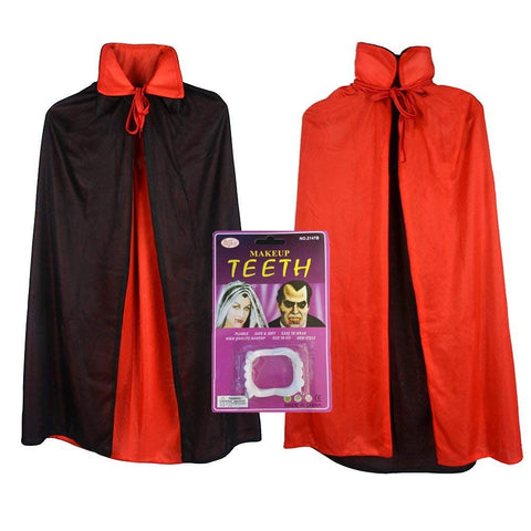 Vampire Cape/ Witch Cloak Reversible Red/ Black (35 Inch) With Vampire Teeth