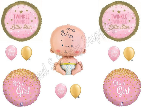 Twinkle Little Star Baby Girl Shower Balloons Decoration Supplies Nursery Rhymes