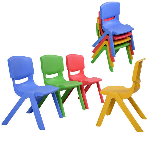 Costzon Kids Chairs, Stackable Plastic Learn And Play Chair For School Home Play Room, Colorful Chairs For Toddlers, Boys, Girls (Multicolor, 8 Chairs)