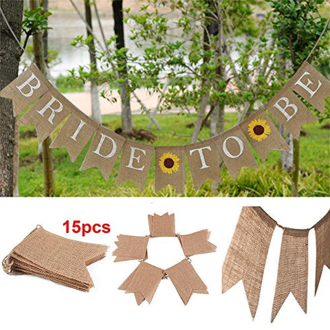 15 Pcs Rustic Burlap Pennant Banner,Burlap Triangle Banner DIY Wedding Decoration for Wedding Birthday Kids Party