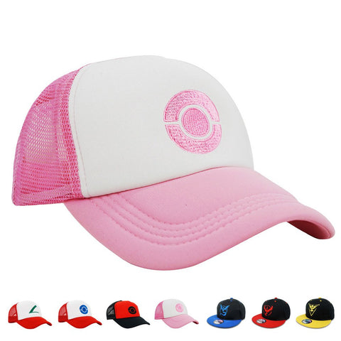 Popcrew Embroidered Team Trainer Hat For Anime Cosplay Costume, Trucker, Snapback Cap (Pink)
