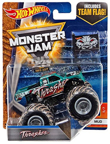 2017 Hot Wheels Monster Jam 1:64 Scale Truck with Team Flag - Thrasher
