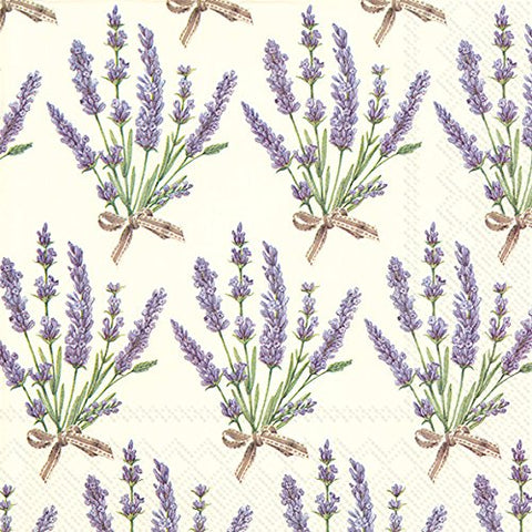 Ideal Home Range L728460 20 Count Bouquet Of Lavender 3-Ply Paper Luncheon Napkins, Multicolor