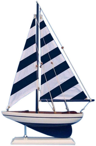 Hampton Nautical Wooden Blue Striped Pacific Sailer Model Sailboat Decoration, 17""